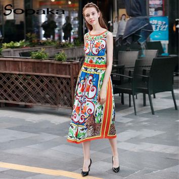 2017 Summer Sleeveless Knee-Length Floral Printing Runway Designer Midi Women Dress . Casual Bohemian Dresses