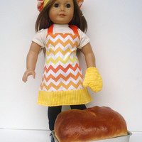18 Inch Doll Clothes, Chevron Apron, Chef's Hat, Oven Mitt, Orange, Yellow and White Chevron Chef's Set