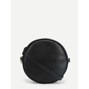 Black Round Pu Crossbody Bag