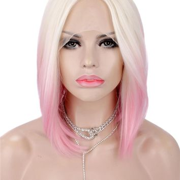 Short Blonde Pink Ombre Synthetic Lace Front Wig