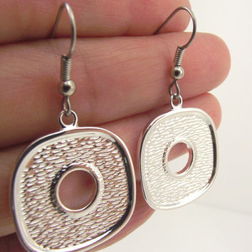 Textured Shiny Silver Square Earrings, Square Silver Earrings