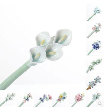 2017 ceramic Hairpin flowers ancient wind retro style hair ornaments hair ornaments classic handmade headdress palace style