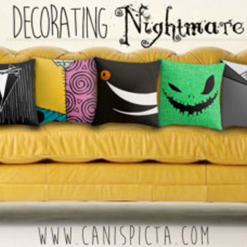 Nightmare Before Christmas Jack Skellington Pillow Cover Living Room Decor Couch Throw Decorative Halloween Burton Sally Zero Oogie Boogie