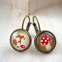 Pretty fox and mushroom earrings sweet lolita feminine leverback