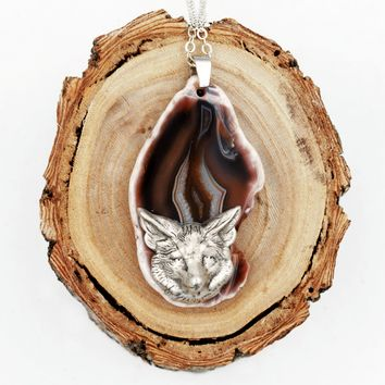 Fox Agate Slice Necklace (Dyed Brown, Nature Animal Jewelry)