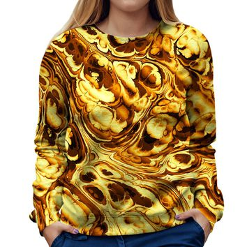 Gold Abstract Painting Womens Sweatshirt