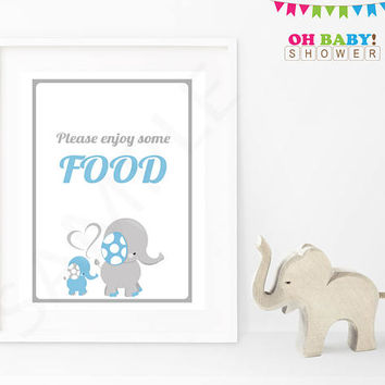 Elephant Baby Shower Please enjoy some food Baby Shower Sign Blue Gray Printable Boy Baby Decor Baby Shower Table Sign Download ELLBG