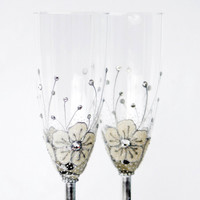 MADE to ORDER White Ice Flowers Champagne Flutes Hand painted Set of 2