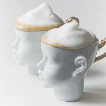 Doll head cups set of white porcelain and gold by endesign