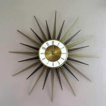 Elgin Starburst Clock Mid Century Starburst Wall Clock Brass Clock Mid Century Clock Mid Century Decor Atomic Clock Atomic Decor