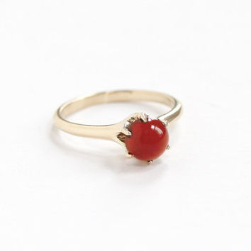 Antique 14k Yellow Gold Carnelian Solitaire Ring - Vintage Edwardian Early 1900s Size 6 1/4 Dark Red Gem Cabochon Fine Antique Jewelry