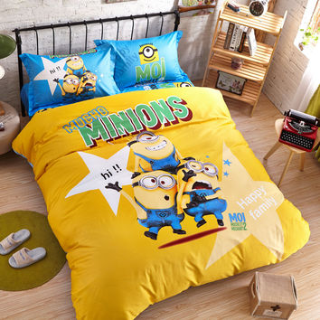 Promotion!Minions Cartoon Kids Bedding Sets Queen Twin Size Bedclothes Quilt/comforter/duvet Cover Sheet Pillowcase 4pcs Bed Set