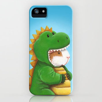 Guinea Pig in a Dinosaur Costume - Peegosaurus Rex iPhone & iPod Case by When Guinea Pigs Fly
