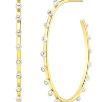Ron Hami 14k Bubble Large Hoop Earrings with Pearls