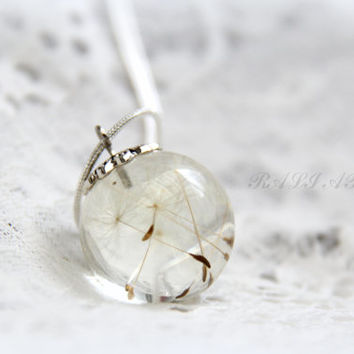 Dandelion necklace, Smal ball, Christmas gift, gift for her,  Pendant resin dandelion, Resin pendant, Pendant dandelion,  Ball resin pendant