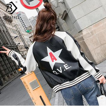 2017 Autumn Fashion Black Washed PU Leather Jacket Women's Good Quality Kawaii Zipper Bright Colors Ladies Basic Jackets C79903A