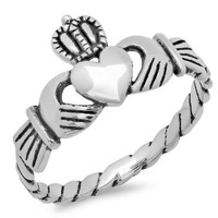 Sterling Silver Irish Friendship & Love Claddagh Ring:Amazon:Jewelry