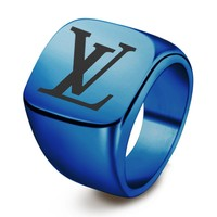 LV Louis Vuitton New fashion letter print couple ring jewelry