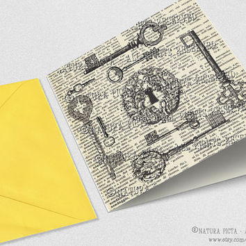 Vintage keys Square Greeting Card with envelope-Keys card-Moving card-Moving Announcements-Personalized card-Design NATURA PICTA NPSGC012