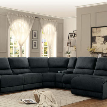 6 pc Keamey collection dark grey fabric upholstered sectional sofa with recliners and chaise with console table