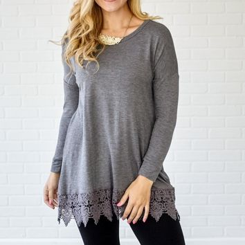 Charcoal-Crochet-Trim-3/4-Sleeve-Top