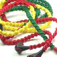 Rasta Smile MyBuds Wrapped Headphones Tangle Free Earbuds Your Choice of Headphones