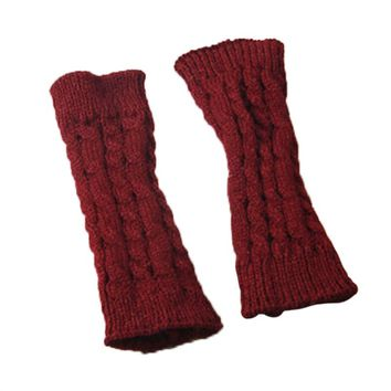 20CM Unisex Winter Knitted Gloves Arm Sleeve Fingerless Long Warmers with Thumb Hole for Men Women