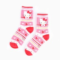 Hello Kitty Adult Crew Socks: Red