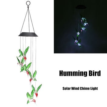 Solar Power Humming Bird LED Solar Light Lighted Yard Led Outdoor Light Garden Path Decoration Wind Chime Lamp White