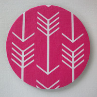 Mouse Pad mouse pad / Mat - Pink white arrows round or rectangle office accessories desk home decor