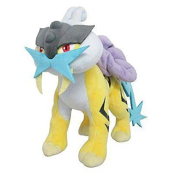 "Sanei PP62 Pokemon All Star Collection Raikou 8"" Stuffed Plush Authentic USA"