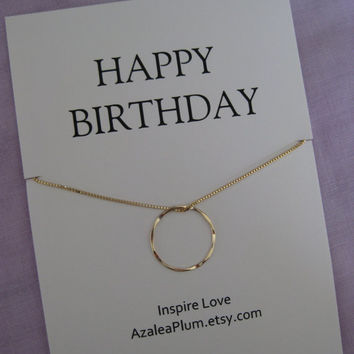 50th birthday gift Gold Eternity Circle best friend necklace 40th Birthday sister jewelry. & AzaleaPlumll on Etsy on Wanelo