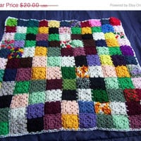 ON SALE Hand Crocheted Small Granny Square Afghan