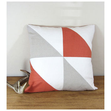 Triangle Modern Colorblock Pillow Cover - Persimmon/ Ivory/ Natural  Combo