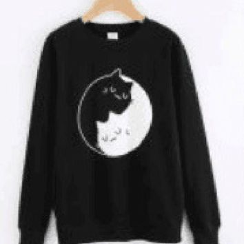 PEAPJ1A Sweater Yin and Yang black and white cats Tai Chi cats personalized leisure sweater
