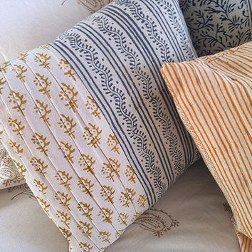Tilonia® By DH Studio - Pleated Pillow in Slate Grey and Mustard Yellow