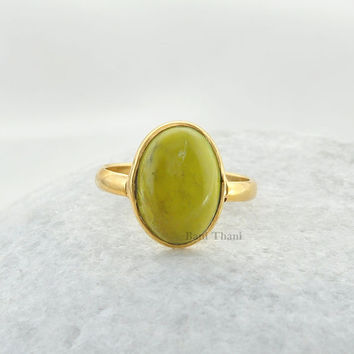 Yellow Turquoise Beautiful Oval 10x14mm Shape Micron Gold Plated 925 Sterling Silver Bezel Ring - #4758