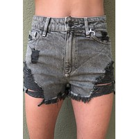 Kan Can High Rise Shorts- Olive