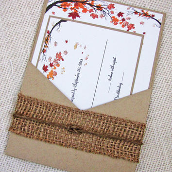 Fall Tree and Leaves Rustic Country Pocket Wedding Invitation Sample Listing