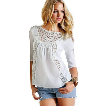 Three-quarter Sleeve Chiffon Lace Patchwork T-shirts [4970283460]
