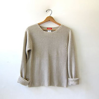 vintage loose knit sweater. oatmeal beige sweater. 90s Esprit sweater