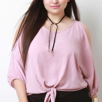 Self-Tie Cold Shoulder Dolman Top | UrbanOG
