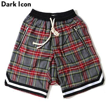 Elastic Waist Plaid Men's Shorts Summer Drop Crotch Shorts Men 3 Colors