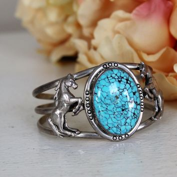 Vintage 1990s Turquoise Bracelet Cuff With Sterling Silver Horses
