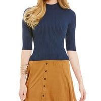 Copper Key Ribbed Mock-Neck Top | Dillards