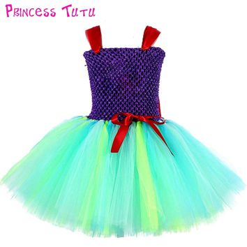 Princess Mermaid Ariel Girl Tutu Dress Baby Girls Character Cosplay Birthday Party Tulle Tutu Dresses Halloween Costume For Kids