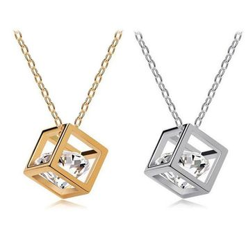 SUSENSTONE Women Chain Crystal Rhinestone Square Pendant Alloy Necklace Jewelry