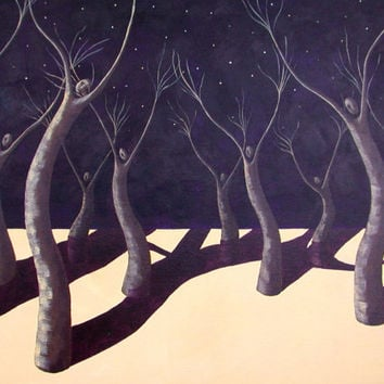 Trees in the Breeze Surreal Night Sky Painting