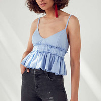 Kimchi Blue Salem Cropped Peplum Cami | Urban Outfitters