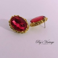 Vintage Red Rhinestone Crystal Earrings, Red Faceted Pierced Gold Tone Earrings